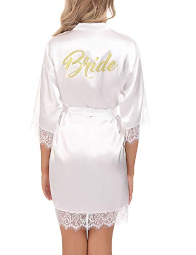 Aibrou Damen Morgenmantel Bademantel Kurz Satin Robe Kimono mit Spitze Nachthemd Nachtwäsche Sleepwear mit Gürtel für Braut Brautjungfern Weiß-Braut S