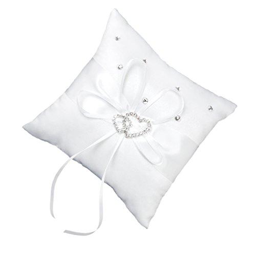 MagiDeal Hochzeit Ringkissen 15cmx15cm Weiß Doppel Herz Kristall Strass