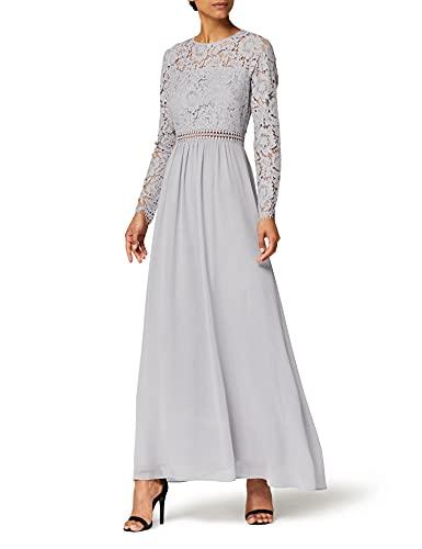 Amazon-Marke: TRUTH & FABLE Damen Maxi A-Linien-Kleid aus Spitze, Grau, 42, Label:XL