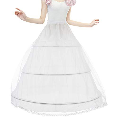Brautkleid Reifrock Petticoat Unterrock, Tüll Reifrock Krinoline - 3 Ring verstellbar Underskirt Damen lang Unterröcke für Hochzeitskleider Ballkleider Abendkleider Brautkleider Promkleider, Weiß