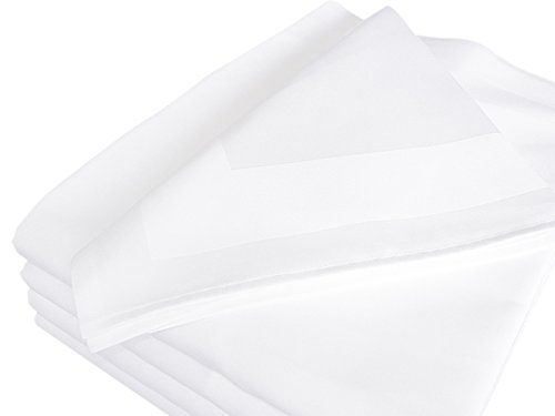 Luxpresso Vollzwirn-Damast Stoffservietten weiß/Mundservietten aus 100% Baumwolle mit Atlaskante - 50 x 50 cm, 6 Stück