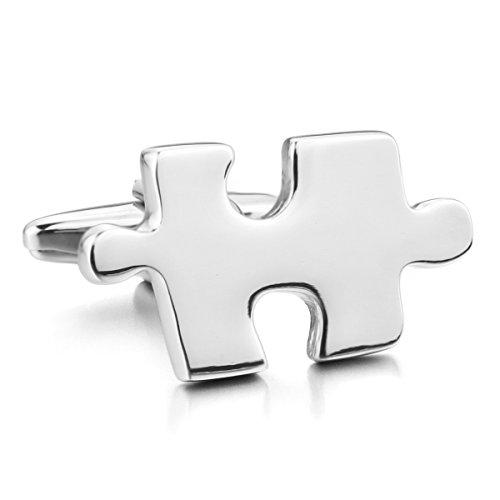 MunkiMix 2 PCS Rhodium Rhodiniert Manschettenknöpfe Silber Ton Hemd Puzzle Hochzeit Business 1 Paar Set Herren