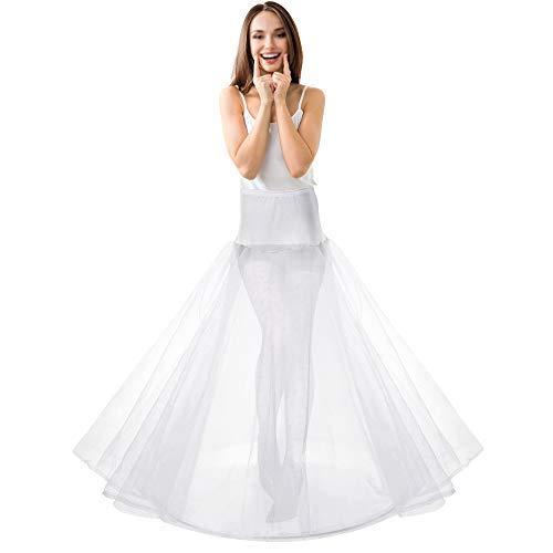 LONGBLE Reifrock Brautkleid Petticoat weiß lang Unterrock mit 1 Ring 2 Tülle Hochzeit Party Barock Kleid Crinoline Underskirt Krinoline Bühnenkleidung