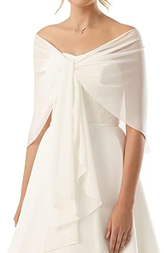 Chiffon Stola Chiffonschal perfekt zu jedem Brautkleid Abendkleid, Hochzeit Abend Gala Empfang - RUTSCHT NICHT - CREME (helles Elfenbein, Ivory) - ca.245cm lang
