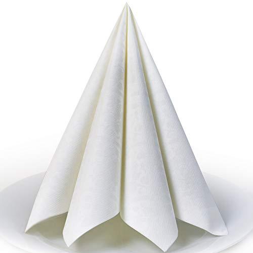 Servietten Damast weiß Premium Airlaid, STOFFÄHNLICH | 50 Stück | 40 x 40cm | Hochzeitsserviette | hochwertige, edle Serviette für Hochzeit, Geburtstag, Party, Taufe, Kommunion | made in Germany