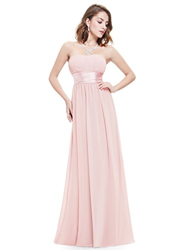 Ever-Pretty Damen Empire Taille Schulterfrei Lange Abendkleider Brautjungfernkleid 40 Größe Rosa