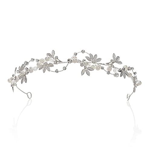 SWEETV Romantisch Perle Kristall Hochzeit Haarband Stirnbänder Krone Diadem Braut Tiara Haarschmuck