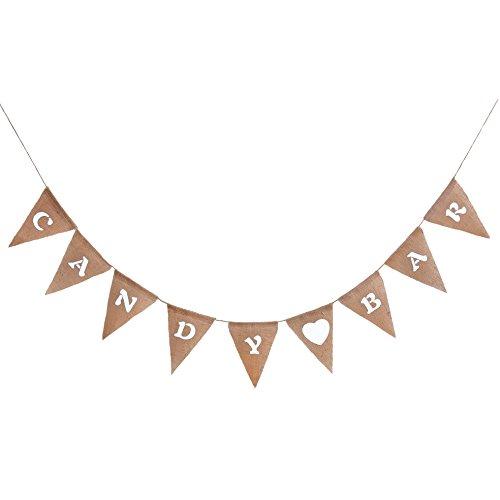 Oblique Unique Girlande Candy BAR in rustikalem Vintage Stil Leinen - Perfekt zu Deko der Candybar auf Hochzeiten, Geburtstagen und Anderen Feiern