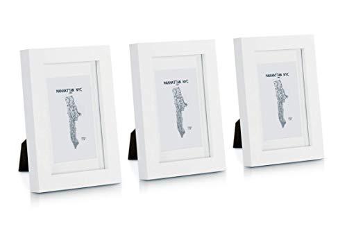 Classic by Casa Chic - Echtholz Bilderrahmen - Weiß- 3er Set - mit Passepartout - Rahmenbreite 2cm