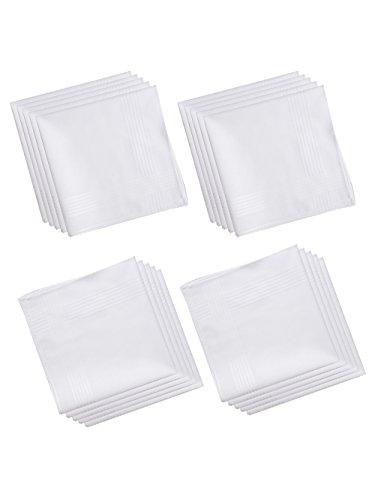 LULUSILK 12 Weiße Herren Taschentücher Stofftaschentücher 100% Stoffserviette 100% Baumwolle, 40 cm x 40 cm