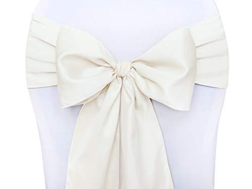 PartyDeco Satinschleifen Stuhlschleifen 10 Stück Creme zur Hochzeit aus Satin