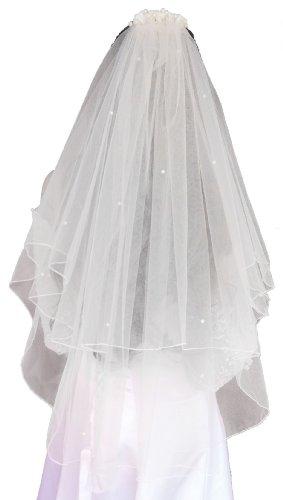 LadyMYP© 2lg Brautschleier mit Kopfschmuck aus Satinrosen & Perlen,60/80 cm, weiß/ivory(hellcreme, Elfenbein) (Weiß)
