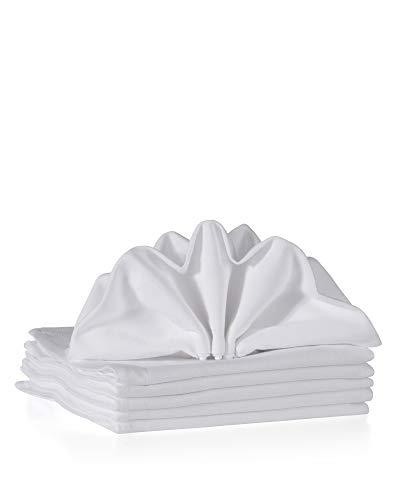 myHomery Stoffservietten aus Baumwolle 6er-Set - schlichtes Design Weiß - Servietten Weiß | 40x40 cm 6er-Set