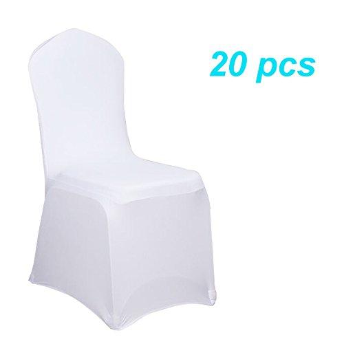 MCTECH Schleifenband Stuhlbezüge Stuhlhussen Stretch Acelectronic Stuhlüberzug Moderne Stuhl Abdeckung für Hochzeiten und Feiern (10 Stück, Weiß)