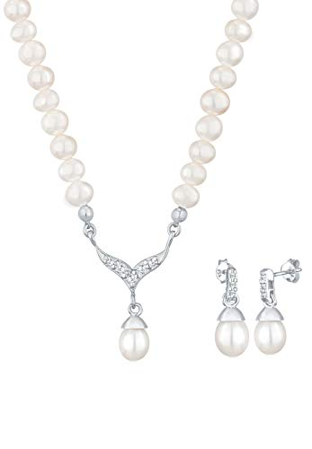 Elli Schmuckset Damen Perle mit Kristall in 925 Sterling Silber