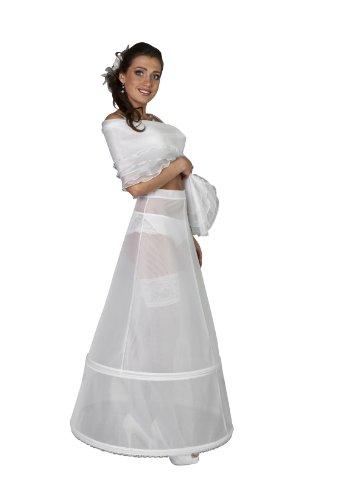 Nina Brautmoden Brautkleid Reifrock aus Tuell und Gummiband - 2 Reifen - R3-220 (L, weiß)