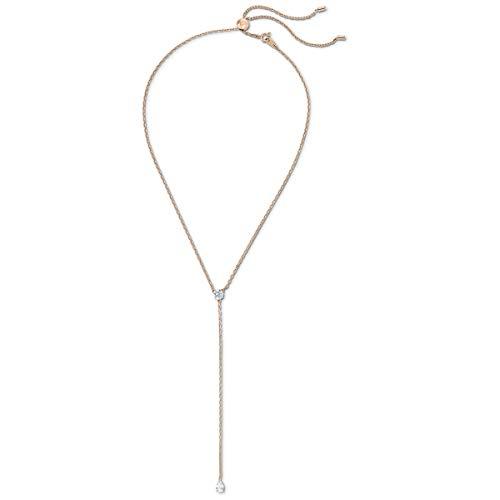Swarovski Attract Soul Y-Halskette, Rosé Vergoldete Damenhalskette mit Weißen, Funkelnden Swarovski Kristallen