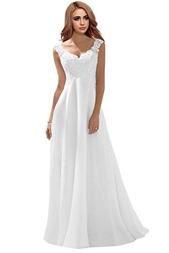 Milano Bride Elegant V-Ausschnitt Spitze Chiffon Hochzeitskleider Brautkleider Brautmode Damen Festkleider Rueckenfrei -42-Weiss
