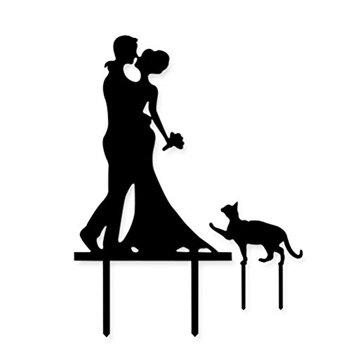 Cake Topper, UEETEK Kuchen Topper Acryl Küssen Paar mit Katze Kuchen Decor für Hochzeit/ Engagement/ Jahrestag Party