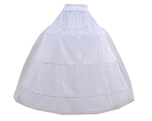 Loywe, Reifrock Petticoat aus Satin, 3 Ringe, Taille Umfang bis 90cm, LW4803