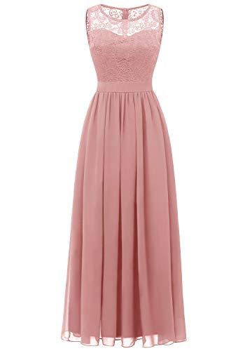 Dressystar 0046 Abendkleid Basic Chiffon Spitzen Ärmellos Brautjungfernkleider Bodenlang Blush XS