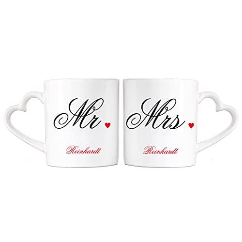 Herz & Heim® Mr. & Mrs. Paartassen Hochzeitsgeschenk mit Aufdruck des Familiennamens