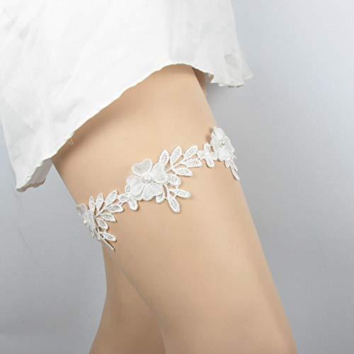Charm4you Elegantes Strumpfband für die Braut,Braut Hochzeit Zubehör Stretch Spitze Bein Schlaufe Strumpfband Gürtel-weiß_5pcs,Brautstrumpfband Stretch Strumpfband