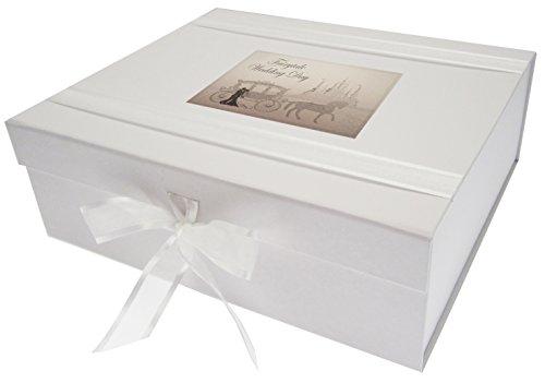 WHITE COTTON CARDS Erinnerungsschachtel für Hochzeit Tag Fairytale, Holz, Weiß, Groß