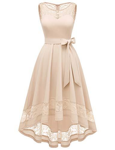 Gardenwed Damen Unregelmässig Floral Spitze Brautjungfern Partykleid Ärmellos Cocktail Kleid Brautkleider Hochzeitsgast Kleider Champagne 2XL