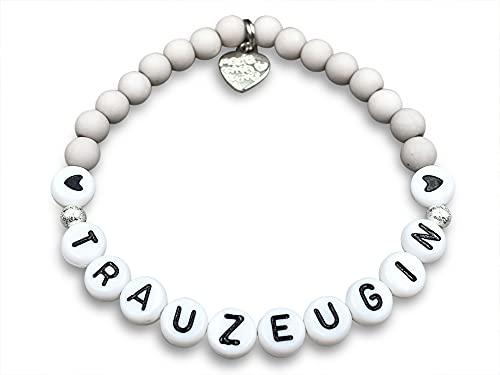 Armband Trauzeugin hellgrau Acryl Perlen 6 mm - Edelsteine wählbar - Willst du meine Trauzeugin sein? - Farbe nach Wunsch Gröe 13 cm für Kinder bis 22 cm -personalisierbar