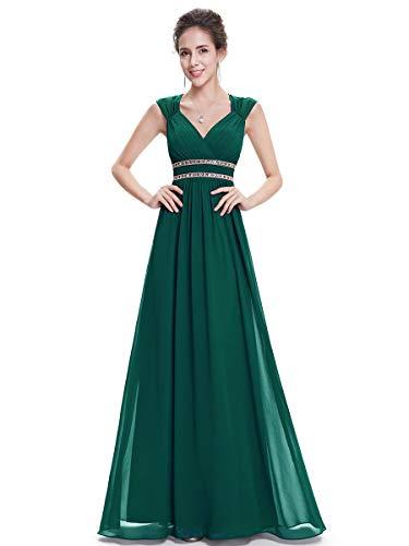 Ever-Pretty Damen Abendkleid A-Linie V Ausschnitt Cocktailkleid rückenfrei lang Hellgrün 48