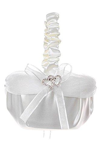 BIMARO Edler Blumenstreukorb creme beige Satin mit Strass-Herzen perfekt für Hochzeit Blumenmädchen Körbchen Blumenkorb