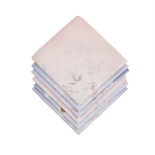 HOULIFE 6 Stücke Damen Narcissus Blumen Taschentücher aus reiner Baumwolle 45x45cm 3 Farben für Alltagsgebrauch