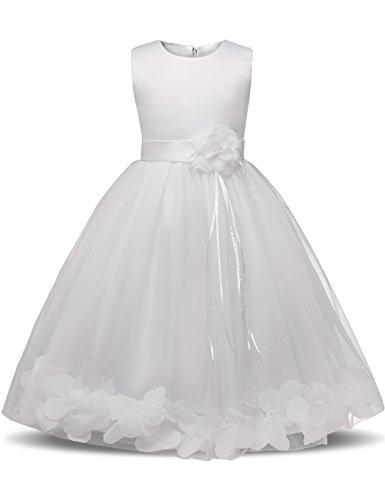 NNJXD Mädchen Tutu Blütenblätter Schleife Brautkleid für Kleinkind Mädchen, Großes Weiß, 19-24 Monate/ Etikettgröße- 100