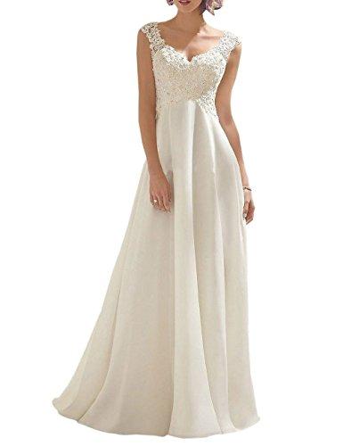 VKStar® Brautkleid Lang Spitze Chiffon Hochzeitskleider Brautmode V-Ausschnitt Elfenbein 42