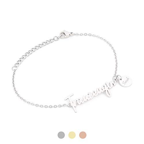 AVIANA Trauzeugin Armband mit Namen Gravur | Personalisierte Geschenke | Trauzeugin fragen | Personalisierter Schmuck | Farbe SILBER