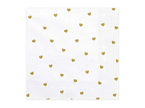 PartyDeco Weiße Servietten mit goldenen Druck von Herzen- Dekoration Servietten für Geburtstag Valentinstag Hochzeit Flitterwochen- Taschentücher gedruckt Tischdekorationen