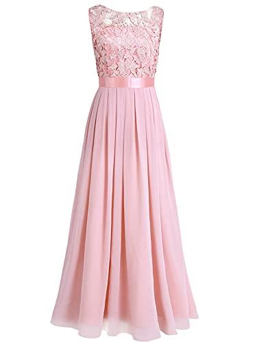 iEFiEL Damen Kleid Festliche Kleider Brautjungfer Hochzeit Cocktailkleid Chiffon Faltenrock Elegant Langes Abendkleid Partykleid Perle Rosa 36