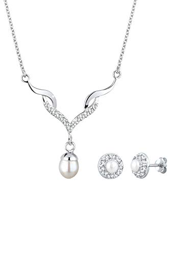 Elli Schmuckset Damen Tropfen Anhänger Zeitlos mit Kristalle und Süßwasserperlen aus 925 Sterling Silber