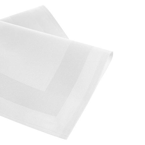 Damast Tischdecke Größe wählbar - Serviette Gastro Edition Weiss 6 x Serviette 50 x 50 cm mit Atlaskante Mundserviette aus 100 % Baumwolle