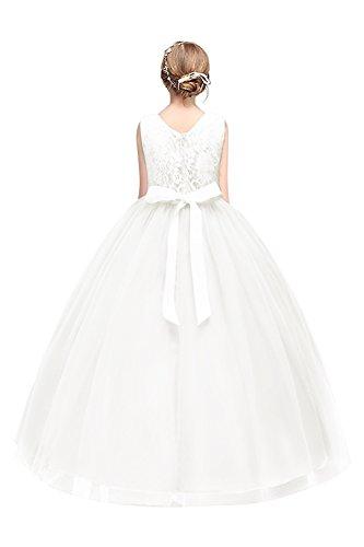 Mädchen Prinzessin Brautkleid Tüll Blumenmädchen Kleid mit Schleife Weiß Gr.170