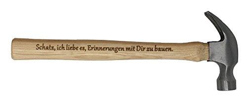 Geschenk für Schatz : Gravierter Holzhammer :' Schatz, ich liebe es, Erinnerungen mit Dir zu bauen' -' Du bist der Hammer' - Besonderes Geburtstagsgeschenk für Schatz