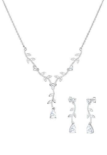 Elli Schmuckset Elli Damen Schmuckset Blumenranke mit Zirkonia Kristallen in 925 Sterling Silber