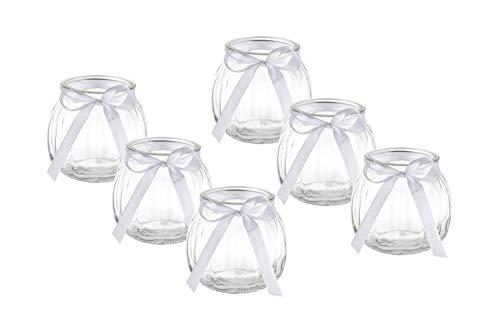 casa-vetro 12 x Deko-Vase Schleife Weiss oder rosa Kleine Teelichtgläser Tisch-vase Dekoration Windlicht Teelicht-Gläser Hochzeit Party Set Flasche Glas klar (12 x Weisse Schleife)