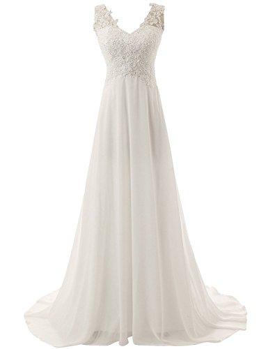 Jaeden Brautkleid Lang Hochzeitskleider Spitze Strand Damen Brautmode Chiffon V-Ausschnitt Elfenbein EUR42