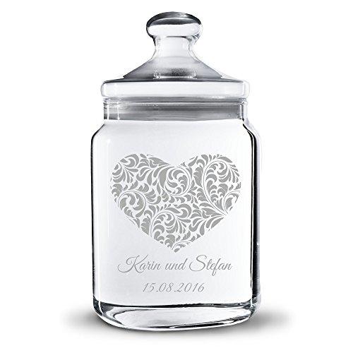 Personello Keksdose Keksglas Herz aus Glas mit Namen und Datum graviert, Vorratsglas zur Aufbewahrung, Geschenk zum Jahrestag, Valentinstag oder Hochzeit