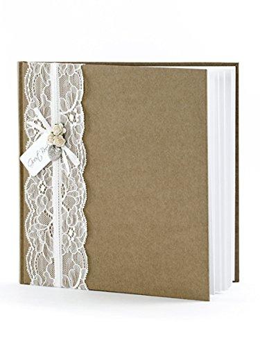 Gästebuch 22 Seiten Creme Braun Weiß Spitze Röschen Apricot Metallherz Anhänger 20,5x20,5cm Hochzeit Nostalgie Hochzeitsbuch Buch Guestbook KWA36EN