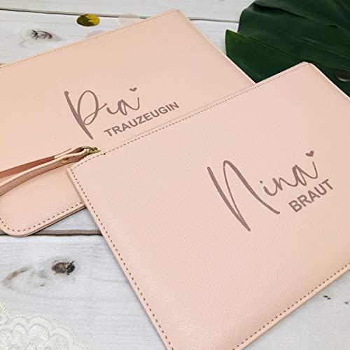 Handtasche Braut Trauzeugin Brautmutter - Clutch in rosa oder weiß personalisiert