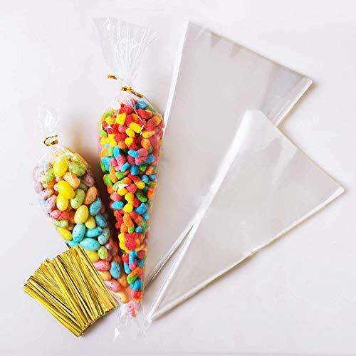AUSYDE Süßigkeitentüten Transparente Plastiktüten Cone Tüte 200 Stück + Süßigkeiten tüten Gold Bindestreifen für Schokolade,Bonbons,Puffreis,EINWEG