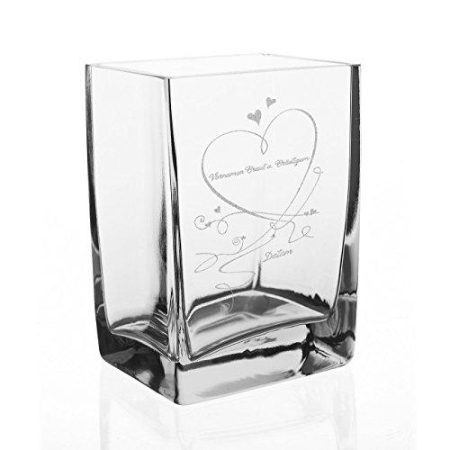 Herz & Heim® Edle Vase zur Hochzeit mit Gravur der Namen des Paares und d. Datums